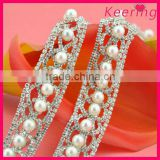 new arrival crystal rhinestone and pearl beads trim wholesale stainless steel chain for dress WRC-200