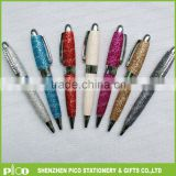 Various color mini twist leather ball point pen with crystal clip for personalized promotion