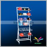 Floor stand 6 layers metal baseball cap display rack for hat
