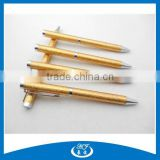 High End Shiny Golden Glitter Metal Leather Ball Pen for Promotional