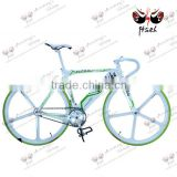 FIVE-SPOKE ! road bicycle, sheep horn handlebar colorful fixed gear bicycle thite and green