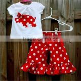 Lovely Kids Summer Boutique Clothing Suit White Tops Red Ruffle Shorts Baby Girl Outfits