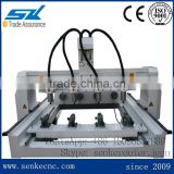 Multi function 4 heads cnc milling machine 4-axis for wood sofa legs