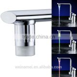 LED Light bathroom and kitchen faucet with sensor RGB colors changing waterfall faucet tap