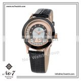 3ATM Water resistant Black Genuine Leather Ceramic rim with Rose gold ion plated Quartz ladies watch
