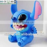 Child gift Blue Cartoon Alien PVC Money Box/Custom Classic Cartoon Characters Money Box/OEM High Quality money box China Factory