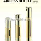 Golden round flat bottom cosmetic acrylic airless bottle with pump professional empty lotion Vacuum Bottle