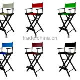 "Director's Chair Seat Stool - 30"" Tall Black Wood Choose Canvas"