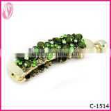 Latest Wave Shape fashion stone Banana Elegant flower hair barrettes hair clips with rhinestone