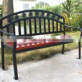 Antique wooden garden bench with back metal frame benches