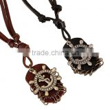 custom new popular fashion boat anchor leather necklace pendant