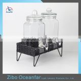 High Quality Twins Glass Spigot Beverage Dispenser Jar Set 2 Honey Glass Dispenser With Metal Stand