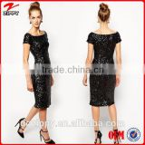 European fashion black off sholder sparkle dress sequin evening dress                                                                         Quality Choice