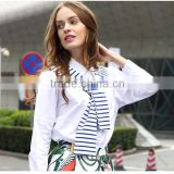 2016 Ladies New Design Fashion Top Blue White Striped Patchwork Knit Tie Neck Poplin Long Sleeve Latest Shirt Designs For Women