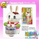 Chuangfa toys--Battery operated animal play drum, electric rabbit animal toys with light & music