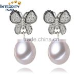 Freshwater 8-9mm AAA serling silver earring white drop 925 silver butterfly pearl earring