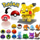 Plastic toys building bricks toys for preschool Pocket's Monster diamond blocks + Poke Balls Gashapon capsule toys DE00065