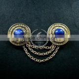 vintage bronze round engraved victorian blue cabochon chain fashion collar brooch jewelry 6520002