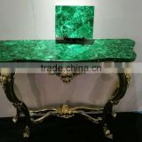 European Style Nouveau Gilt Wood Hall Way Console Table, Home Decorative Console Table, Malachite Top Console Table