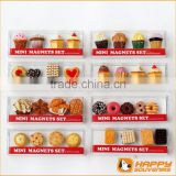 Polyresin fridge magnet miniature food series 3D cup cake and donut set
