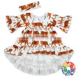 Front Short Back Long Ruffle Hem Half Sleeve Tiger Printed Fabrics Baby Girls Ruffle Tops