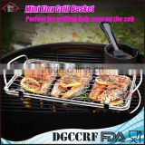 Stainless Steel BBQ Rack Mini Flexible fish Grill Basket with Wire Mesh Food Holder handle