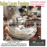 Momoda New Classical Italian Style Round Bed, Solid Wood Antique Hand Carved Round Bed, Luxury Palace Gold Leaf Round Bed