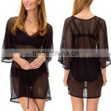 Sexy Summer Crochet Lightweight Mesh Layer Swimsuit Beach Cover Up Black Dolman Sleeve Blouse For Beachwear