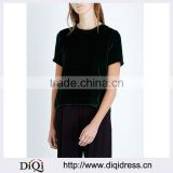 Wholesale Women Latest Simple Design Black Round Neck Short Sleeves Back-split Velvet Blouse(DQE0170T)