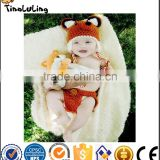 Fashion animal crochet beanies baby hat fox costume set newborn photography props infant handmade hat and diaper cover set