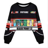 Apparel fancy printing hiphop woman's hoodies crewneck short loose sports women sweatshirt