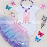 Newborn Infant Baby Girl necklace+Romper+bracelet Bodysuit Tutu Flower Clothes Outfit Set