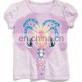Elephants print cap sleeve tee girls animal print tee custom