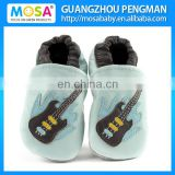 Light Blue Guitar Pattern Kids Boy Cow Leather Loafers