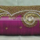 Exclusive Hot Pink Hand Embroidered Clutch Purse , Fancy Ladies Evening Clutch Bag