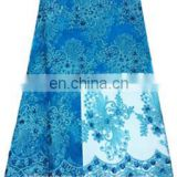 Fashion turquoise blue lace fabric for party