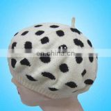 Black Round Dot special women knitted hat