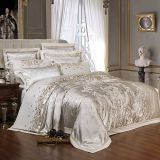 Sliver Gold Luxury Silk Jacquard duvet cover bedding set Embroidery bed set bed sheet set