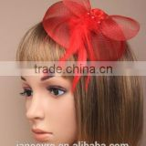 Wholesale Alibaba Red Sinamay Base Bridal Fascinator Hat With Feather
