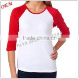 Lastest design fashion customized 3/4 Sleeve T-shirt for women leisurely life Street-style 100% Cotton Ladies T shinrt