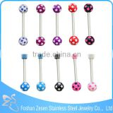 Custom-made stainless steel colorful cheap wholesale double ball tongue piercing