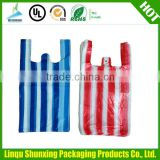 promotion customized PE candy stripe vest carrier plastic carry bag design