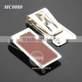 Promotional Brown Leather Stainless Steel Metal Money Clip Leather
