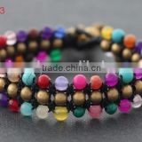Trendy mixed color natural stone beads brass bell bracelets thai style handmade bulk fashion jewelry China supplier