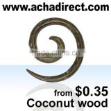 Piercing jewelry, spiral in coconut wood (from Bali - Indonesia), price starts from US $ 0.35 per piece