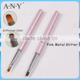 ANY Nail Art Beauty Design Pink Metal Oval UV Gel Art Brushes for Nail Art