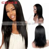Natural Color 120% Density Yaki Straight Brazilian Virgin Human Hair Full Lace Wig with Baby Hair                                                                         Quality Choice