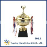 Big plastic base high-end gold sports soccer awards trophies souvenir world cup metal golden trophies 3012ABC china trophy cup