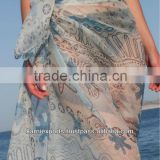Polyester chiffon girls beach panta pareo / Beach wear towel pareos / Girls swimwear pareos