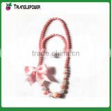Candy colorful beaded necklace bracelet set with ribbon bow tie for kids